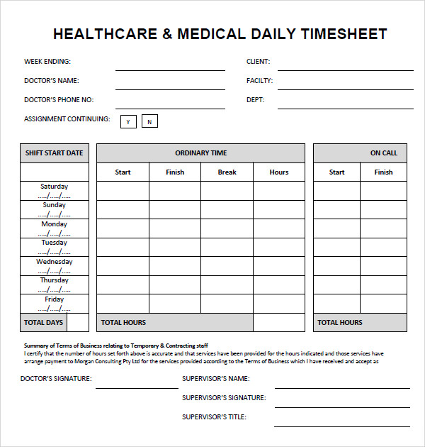 Sample Time Sheet 7 Documents In PDF Doc Excel – Sample Daily Timesheet