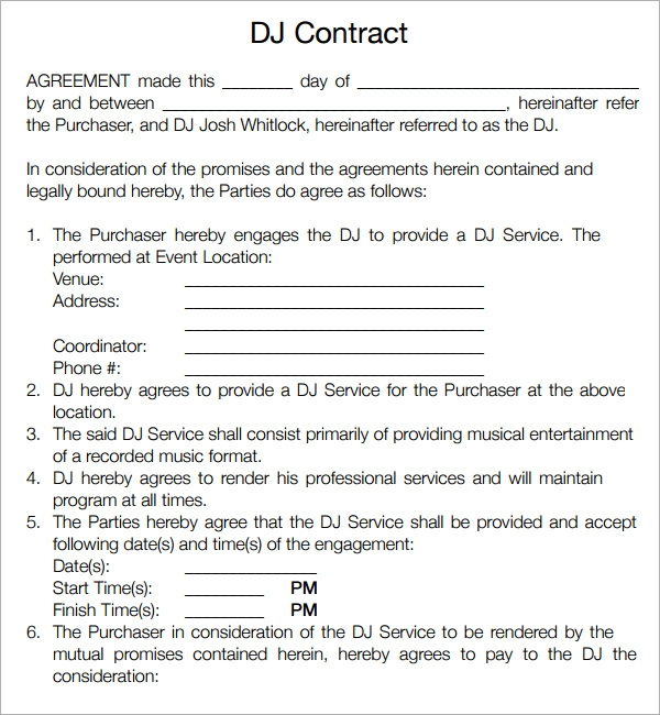 Dj Agreement Contract