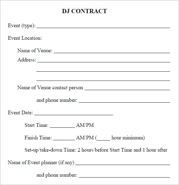 16 sample best dj contract templates to download sample for Event booking form template word