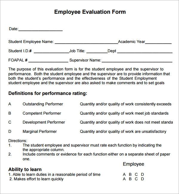 employee evaluation examples Template – Sample of Appraisal Form for Employee