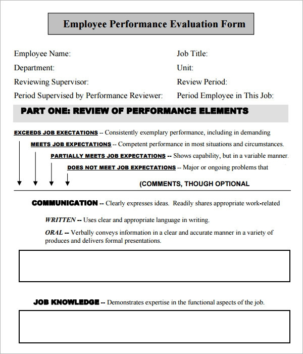 Employee Evaluation Form   Download Free Documents In Pdf