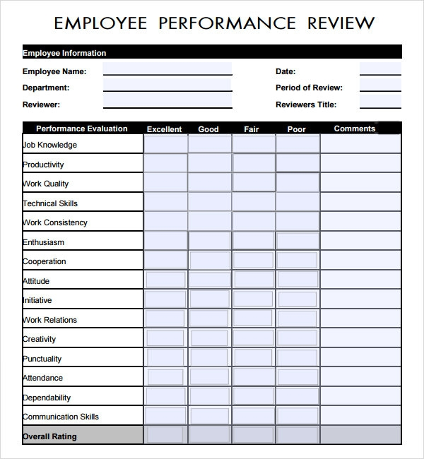 Sample Employee Review Template 7 Free Documents Download in – Sample Staff Evaluation