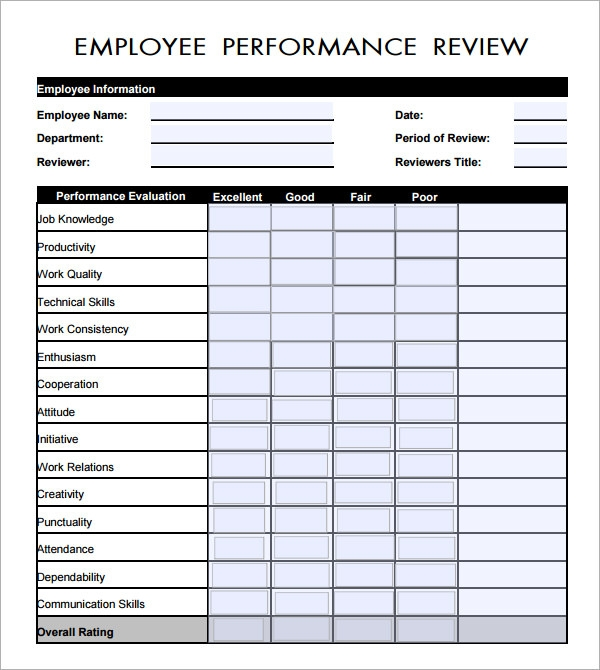 Employee Evaluation Form 21 Download Free Documents in PDF – Free Performance Review Templates