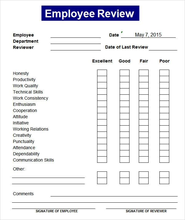 8 employee review templates pdf word pages sample templates for Evaluation templates for employees