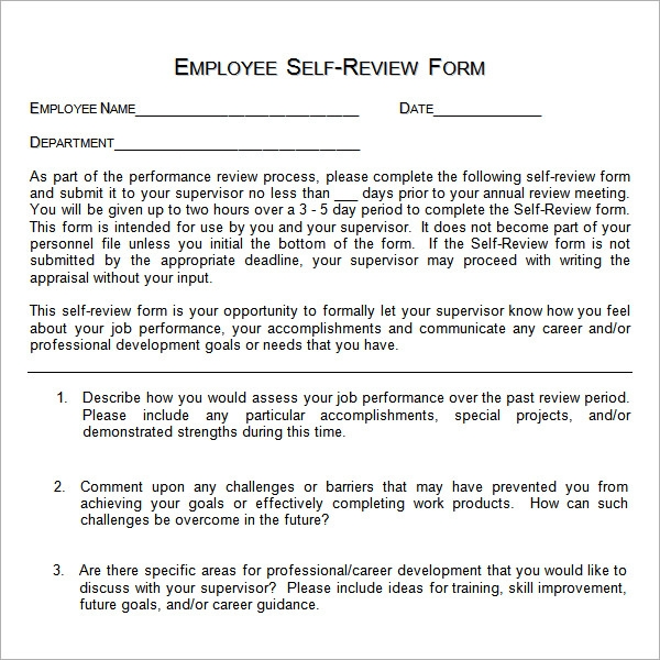 Employee Self Evaluation Example