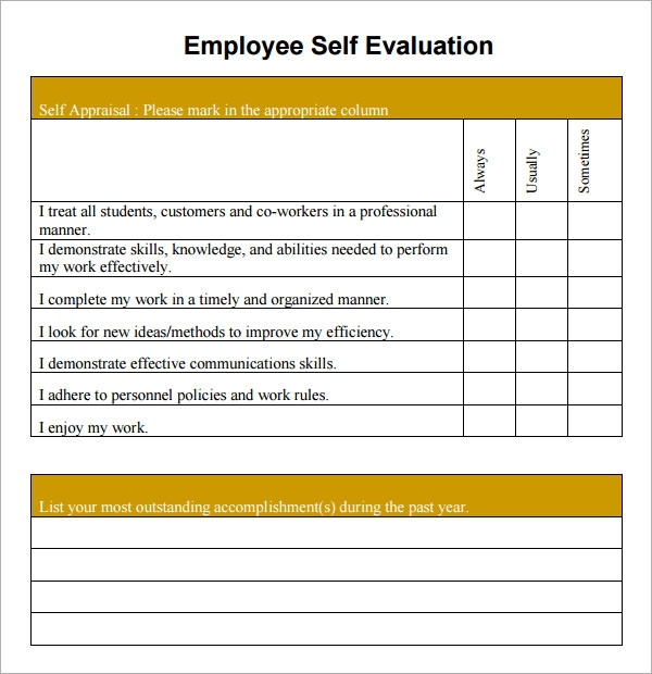 Sample Employee Self Evaluation Form 14 Free Documents in Word PDF – Free Printable Employee Evaluation Form