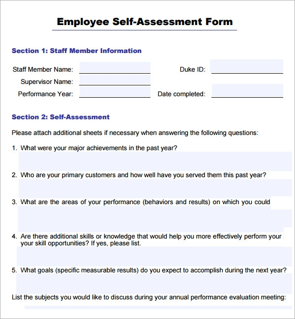 Sample employee self evaluation form 16 free documents in word pdf for Evaluation templates for employees