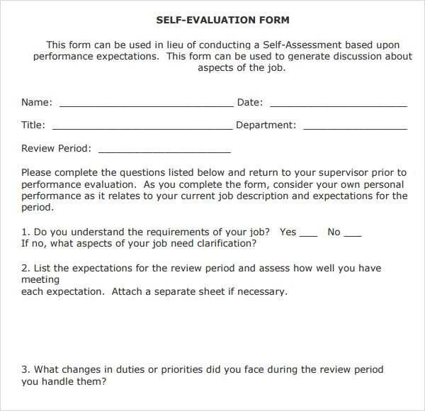 employee self review template