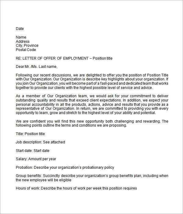 Employment Job Offer Letter