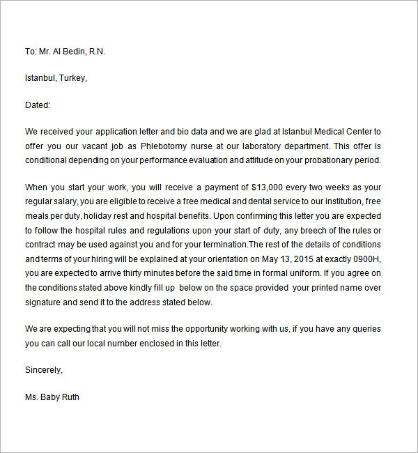Employment offer letter 6 free doc download employment offer letter template spiritdancerdesigns Images