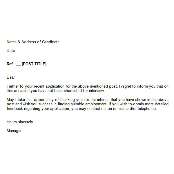 Job Rejection Letter 6 Free Doc Download.Job Rejection Letter 6