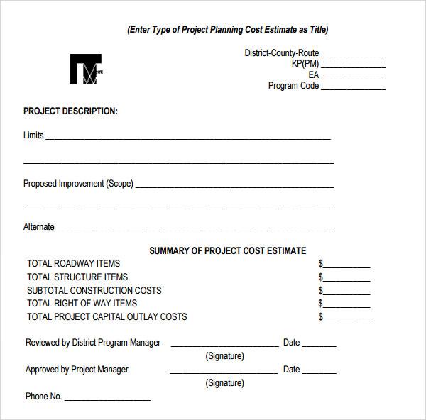 Estimate Form – Work Estimate Template