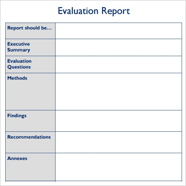 Sample Evaluation Report Template - 7+ Free Documents Download In Pdf