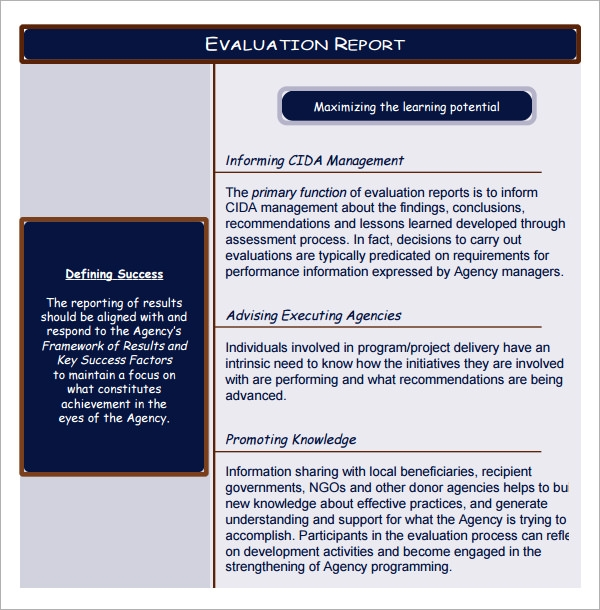 evaluation report format
