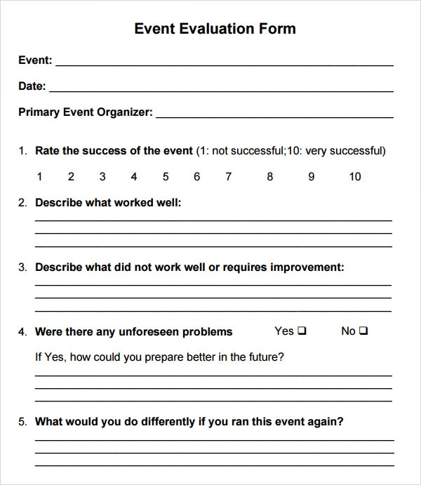 Workshop Evaluation Form Samples