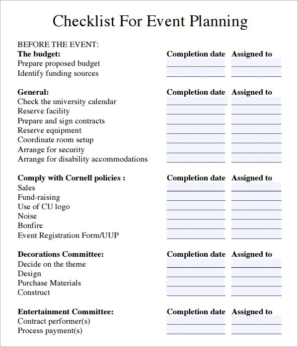 Event Planning Checklist 6 Download Free Documents in PDF – Sample Event Checklist Template