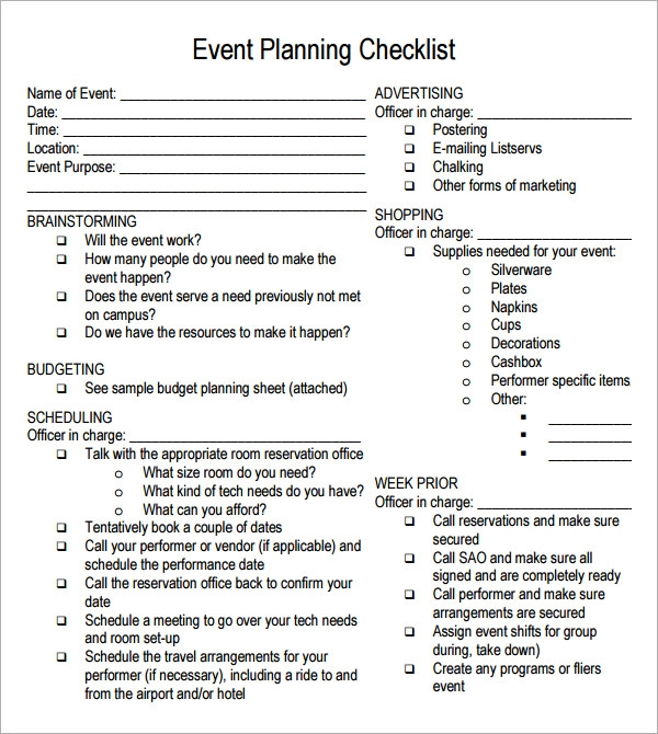 event planning checklist 7 free download for pdf sample templates. Black Bedroom Furniture Sets. Home Design Ideas