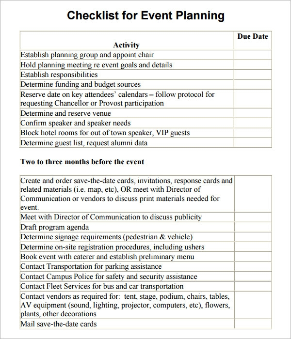 how to plan an event template - 11 sample event planning checklists pdf word sample