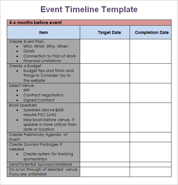 Stunning Sample Event Timeline Template Ideas Guide to the – Sample Event Checklist Template