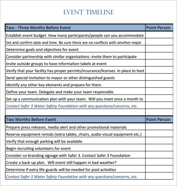 10 event timeline templates for free download sample for Event safety plan template