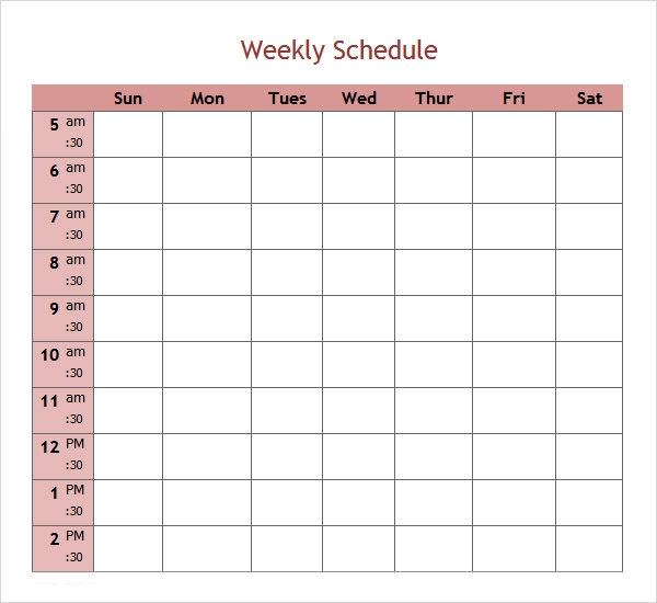 excel week schedule template