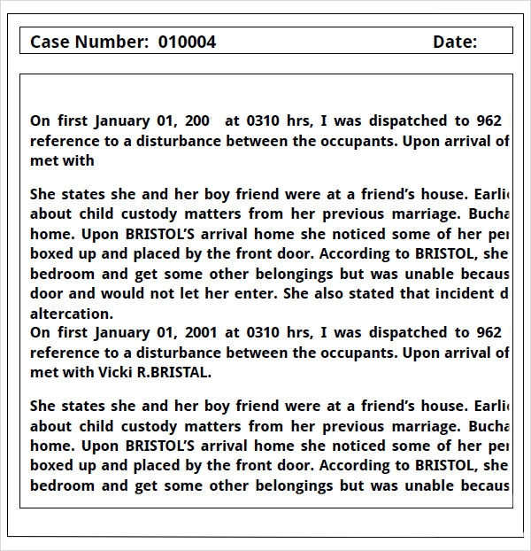police report template .