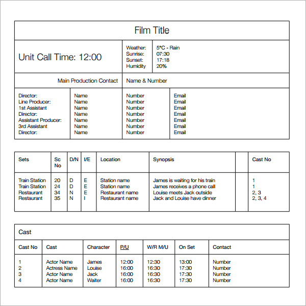 film call sheet template word