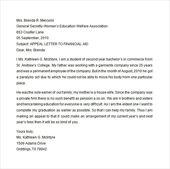 Appeal sample letter for financial aid appeal for reinstatement financial aid altavistaventures Choice Image