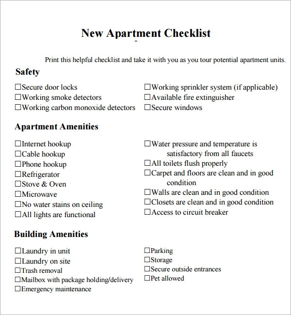 Beautiful Moving Checklist Apartment Gallery - Searchgpl.us ...