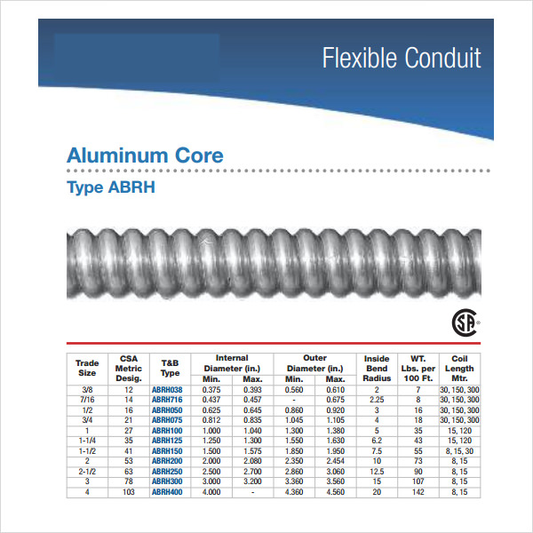 High Quality Flexible Conduit Fill Chart