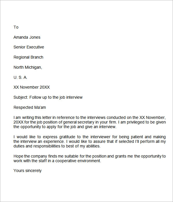 interview follow up letter: