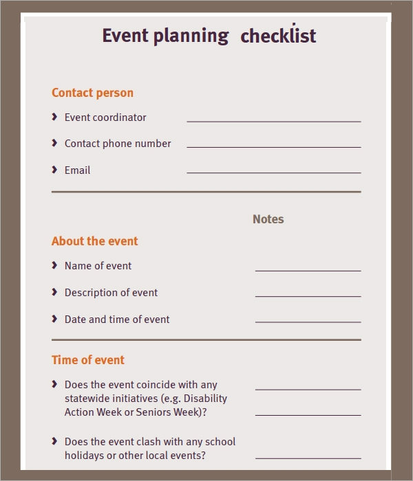 Event Planning Checklist   7  Download Free Documents in PDF Z687Eict
