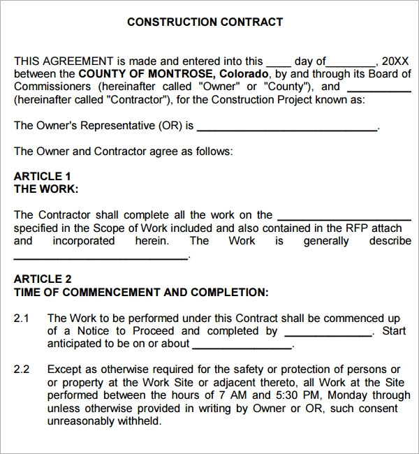construction contract agreement template .