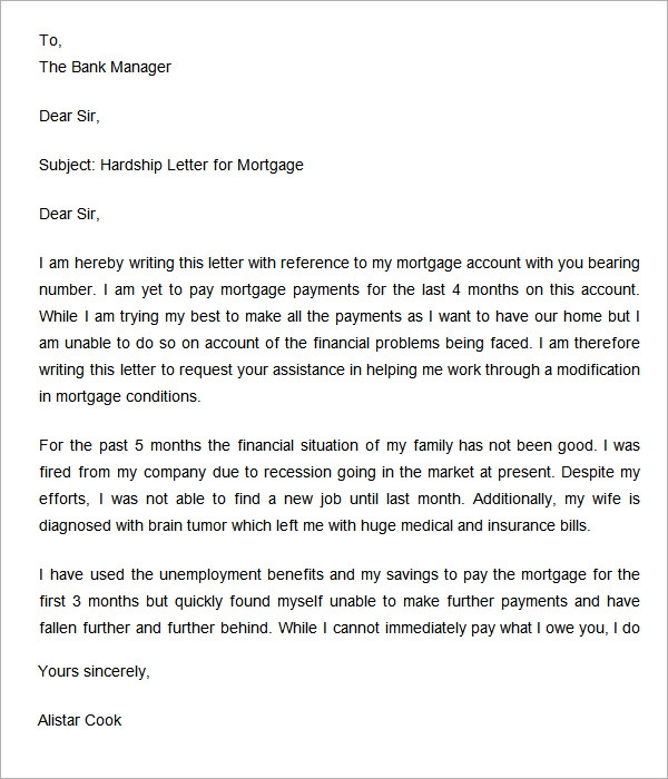 Hardship Letter To Bank  Docoments Ojazlink