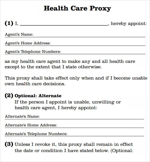 health care proxy template