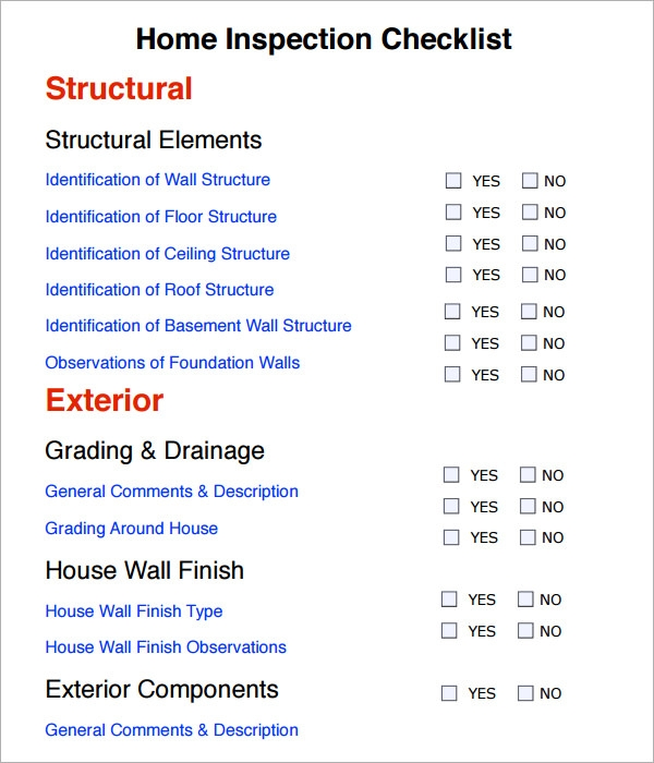 home inspection checklist forms