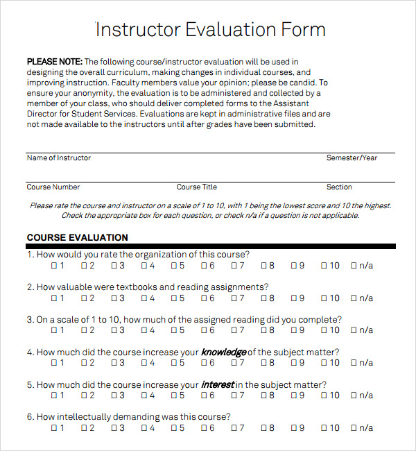 Sample Instructor Evaluation – Over 150000 Software Free Downloads