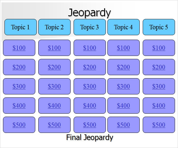 search results for blank jeopardy powerpoint game template calendar 2015. Black Bedroom Furniture Sets. Home Design Ideas