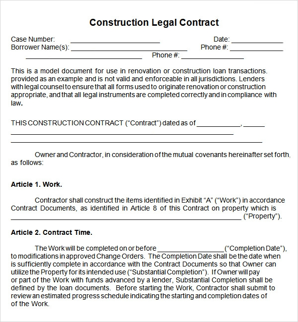 Free Contract Templates Letter Template Word Contract Template