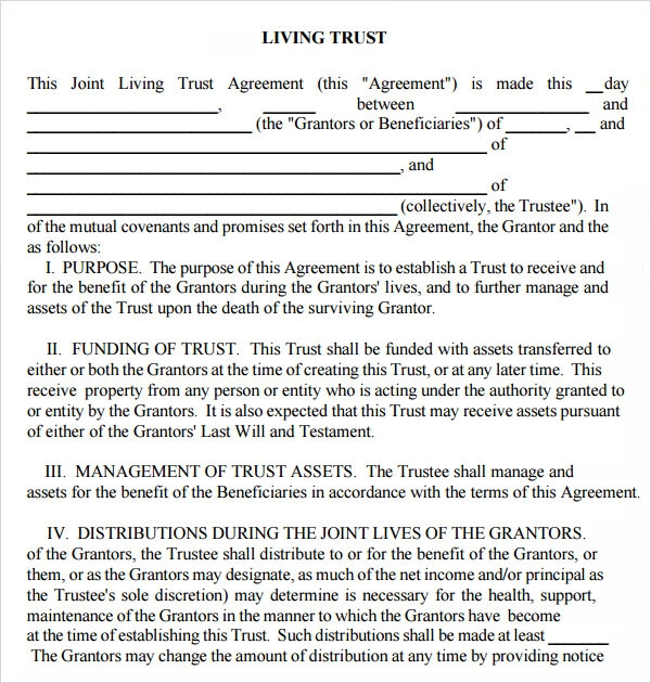 Sample Living Trust Form