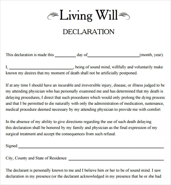 9 sample living wills pdf sample templates for Last will and testament free template maryland