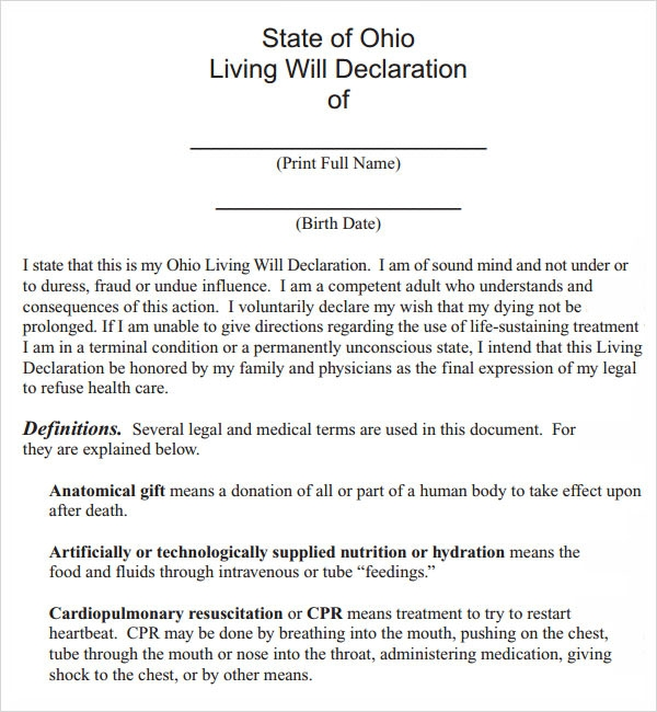 sample living will 8 documents in pdf With ohio living will template