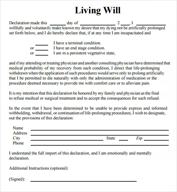 9 sample living wills pdf sample templates for Sample of living will template