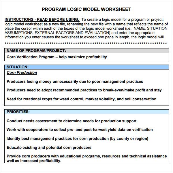 logic model worksheet