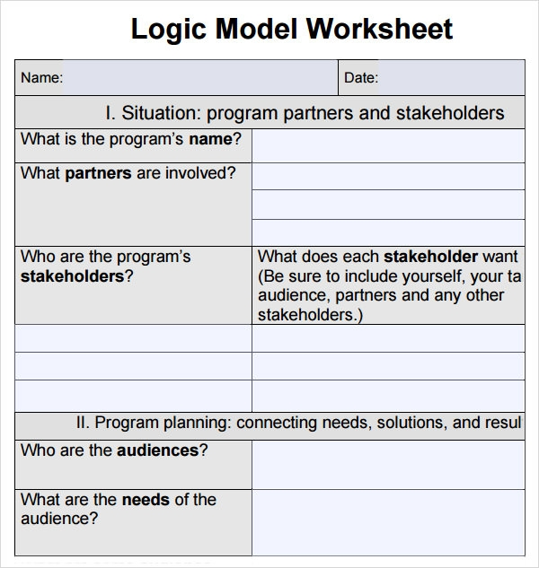 Printables Logic Model Worksheet sample logic model 11 documents in pdf word worksheet