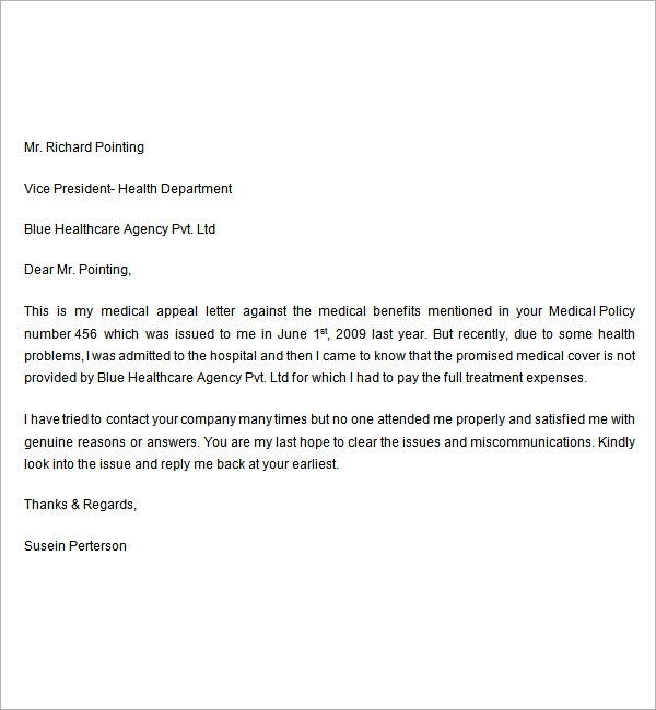 Sample Appeal Letter - 7+ Free Documents Download in Word