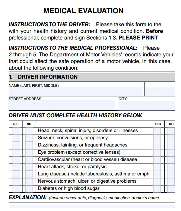 Medical Evaluation   Free Download For Pdf