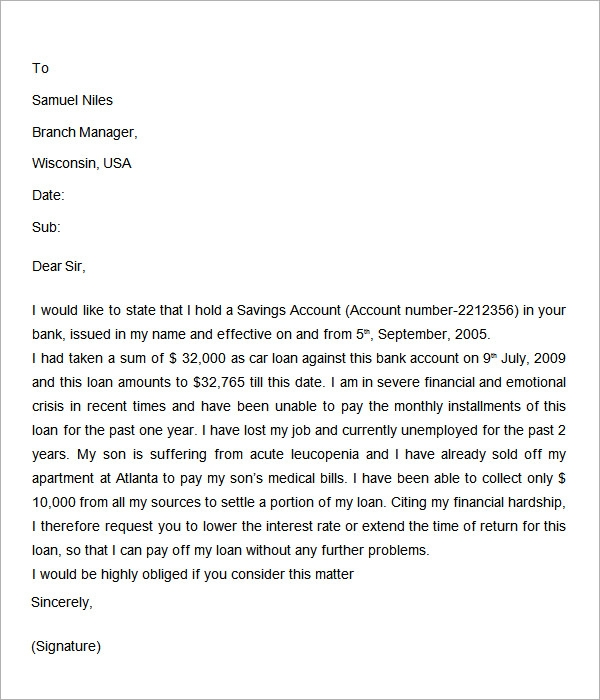 Medical Bill Hardship Letter Sample Pictures to Pin – Financial Hardship Letter