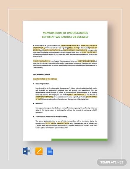 memorandum of understanding between two parties for business1