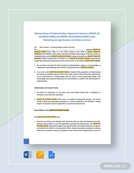 memorandum of understanding format for business
